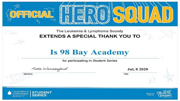 Bay Academy Honored by the Leukemia and Lymphoma Society